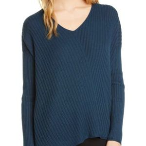 New $248 Eileen Fisher Ribbed V-neck Sweater SzXXS